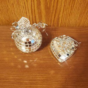 NEW!! Disco Ball and Heart set Christmas Ornaments